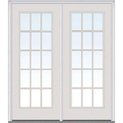 Classic Clear Glass Fiberglass Smooth Prehung Left-Hand Inswing 15 Lite GBG Patio Door
