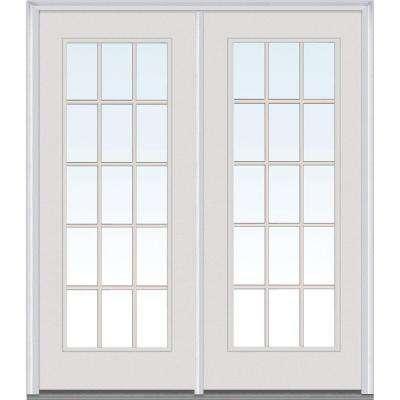 Classic Clear Glass Fiberglass Smooth Prehung Left-Hand Inswing 15 Lite GBG Patio Door