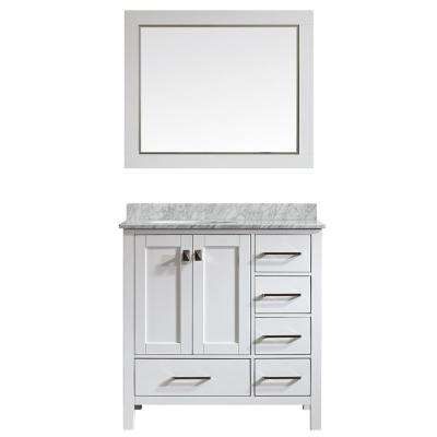 Gela 36 in. W x 22 in. D x 35 in. H Vanity In White with Marble Vanity Top in White with Basin and Mirror
