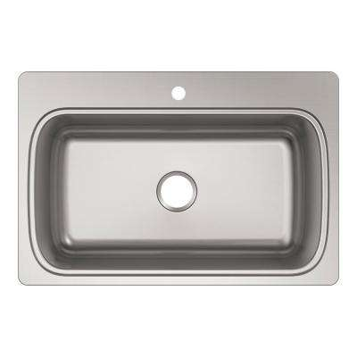 Verse Drop-in Stainless Steel 33 in. 1-Hole Single Bowl Kitchen Sink