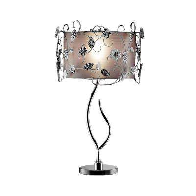 34 in. Silver Table Lamp with Vine Detailing-DISCONTINUED