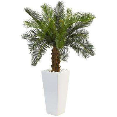 Indoor Cycas Artificial Tree in White Tower Planter
