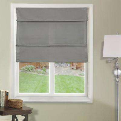 "Cordless Magnetic Roman Shade / Window Blind Fabric Curtain Drape, Light Filtering, Privacy - Daily Grey, 36""W X 64""H"