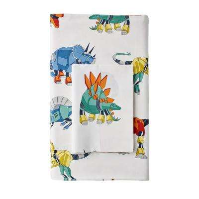 Robo Dino 200-Thread Count Cotton Percale Fitted Sheet
