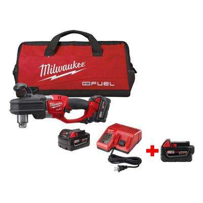 M18 FUEL 18-Volt Lithium-Ion Brushless 1/2 in. Hole Hawg Right Angle Drill Kit with Free M18 5.0Ah XC Battery