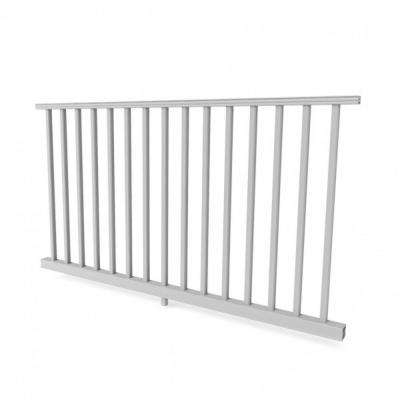 White Resalite Composite 36 in. x 8 ft.Transform Rail Kit with Square Balusters and brackets
