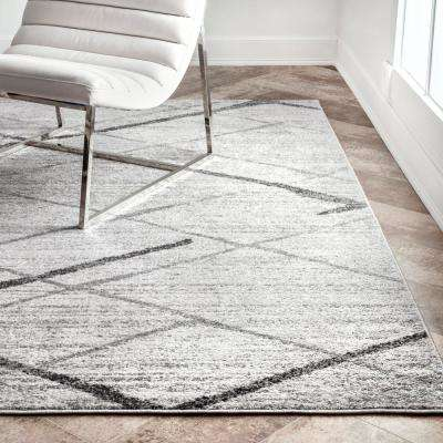 Thigpen Contemporary Stripes Gray 8 ft. x 10 ft. Area Rug