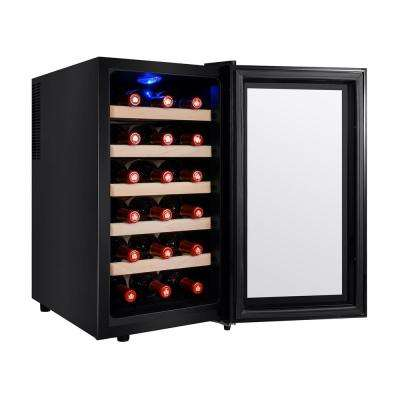 18-Bottle Single Zone Thermoelectric Wine Cooler in Black with Wooden Shelves