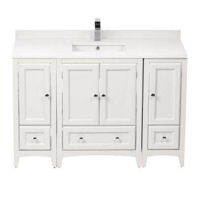 Oxford 48 in. Vanity in Antique White with Ceramic Vanity Top in White with White Basin and Mirror