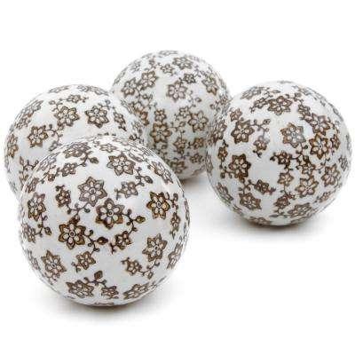 Oriental Furniture 4 in. Gold Star Flowers Porcelain Ball Set