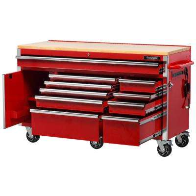 Heavy-Duty 61 in. W x 23 in. D 10-Drawer 1-Door Tool Chest Mobile Workbench with  Flip-up Pegboard in Red