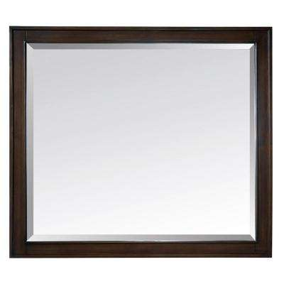 Madison 36 in. W x 32 in. L Framed Mirror in Light Espresso
