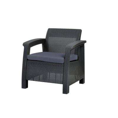 Corfu Charcoal All-Weather Patio Armchair with Charcoal Cushions