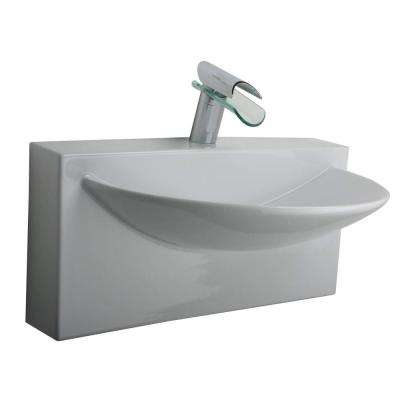 Wall-Mounted Bathroom Sink in White