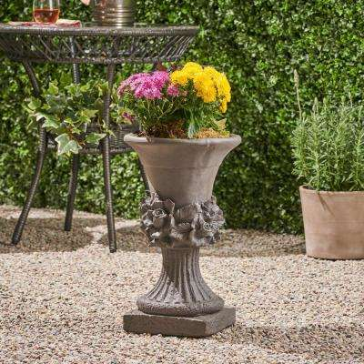 Calliope 11.75 in. x 11.75 in. Antique Grey Lightweight Concrete Outdoor Garden Urn Planter with Floral Accents