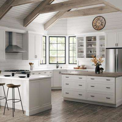 Designer Series Melvern Assembled 33x34.5x20.25 in. Lazy Susan Corner Base Kitchen Cabinet in White