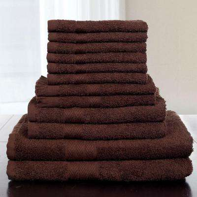 12-Piece 100% Cotton Towel Set in Chocolate