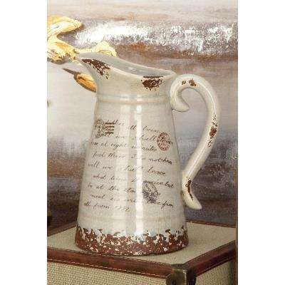 10 in. Ceramic Pitcher Vases in Taupe and White (Set of 2)