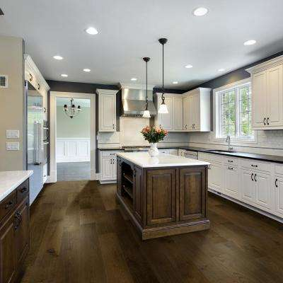 Wire Brushed Dawn Oak 3/8 in. T x 7.5 in. Wx Varying L Click Lock Exotic Engineered Hardwood Flooring (30.92 sq.ft/case)