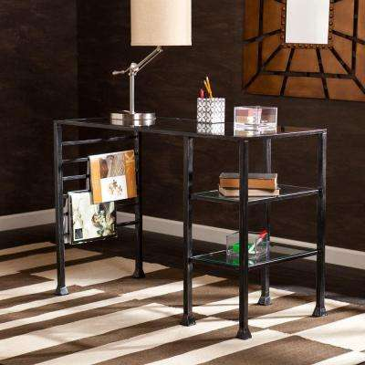 Black finish with silver distressing and glass Desk