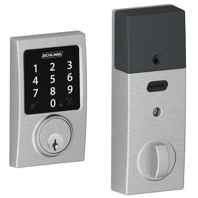Connect Satin Chrome Touchscreen Deadbolt with Century Trim