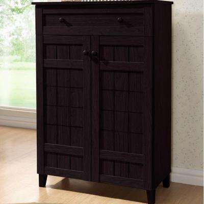 Glidden Wood Tall Modern Shoe Cabinet in Dark Brown