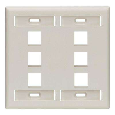 2-Gang Quickport Standard Size 6-Port Wallplate with ID Windows, Light Almond