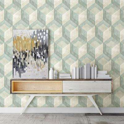 Green Rustic Wood Tile Geometric Wallpaper