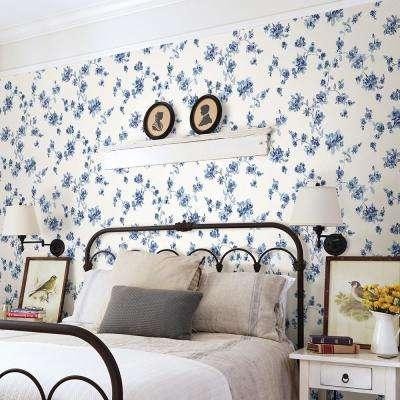 56.4 sq. ft. Cyrus Blue Floral Wallpaper