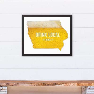 "20 in. x 16 in. ""Iowa Drink Local Beer  "" Printed Framed Canvas Wall Art"