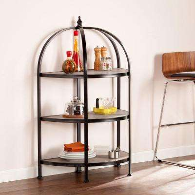 Peachtree 3-Shelf Bookcase in Matte Black with Burnt Oak Shelves