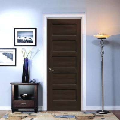 32 in. x 80 in. Conmore Espresso Stain Smooth Solid Core Molded Composite Single Prehung Interior Door