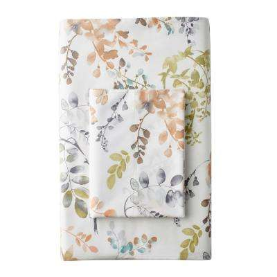 Hillside Floral 300-Thread Count Sateen Fitted Sheet