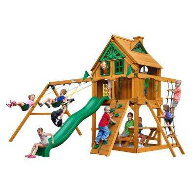Chateau Treehouse with Fort Add-On and Amber Posts Cedar Playset