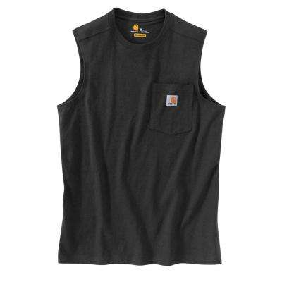 Men's Regular  Black Cotton Sleeveless T-Shirt