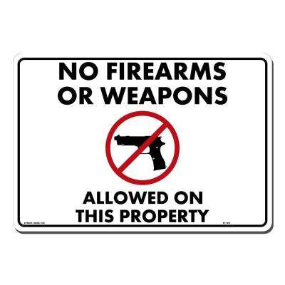 14 in. x 10 in. Black and Red on White Plastic No Fire Arms Sign