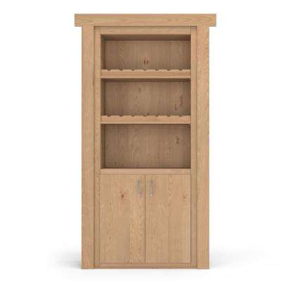 32 in. x 80 in. Flush Mount Assembled Alder Unfinished Right-Hand Inswing Wine Rack Door