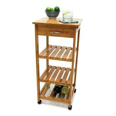 Bamboo Mobile Kitchen Cart with Wine Rack