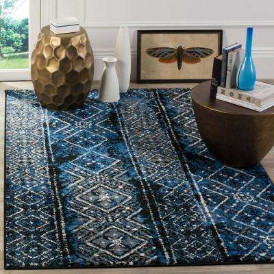 Adirondack Blue/Black 6 ft. x 6 ft. Square Area Rug