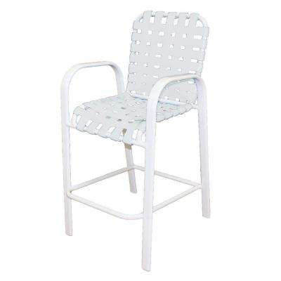 Marco Island White Commercial Grade Aluminum Bar Height Patio Dining Chair with White Cross Vinyl Straps