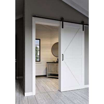 36 in. x 84 in. White Collar Composite K-Bar Solid-Core MDF Sliding Barn Door with Hardware Kit