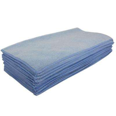16 in. x 16 in. Blue Microfiber Cleaning Towel (Pack of 48)