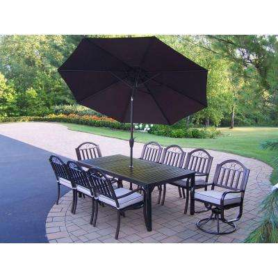 Rochester 9-Piece Patio Dining Set with Cushions and Brown Umbrella