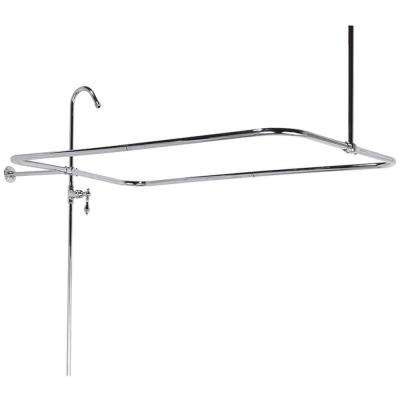 43 in. x 23 in. End Mount Shower Riser with Enclosure in Polished Brass