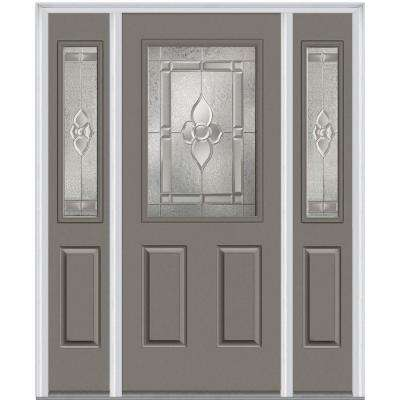64.5 in. x 81.75 in. Master Nouveau Decorative Glass 1/2 Lite Painted Fiberglass Smooth Exterior Door with Sidelites