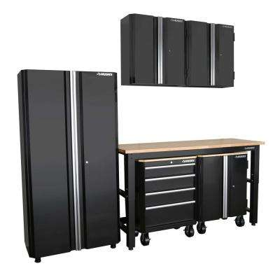 98 in. H x 108 in. W x 24 in. D Steel Garage Cabinet Set in Black (6-Piece)