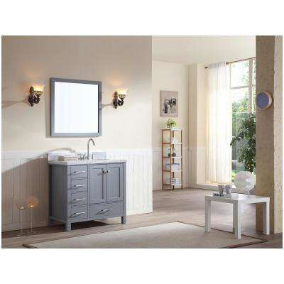 Cambridge 37 in. Bath Vanity in Gray with Marble Vanity Top in Carrara White with White Basin