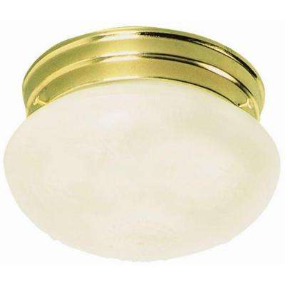 1-Light Polished Brass Ceiling Mount Fixture with Frosted Etched Glass