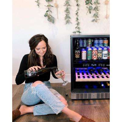 Dual Zone 24 in. Built-In 20-Bottle and 70 Can Wine and Beverage Cooler with SplitShelf Shelves - Stainless Steel