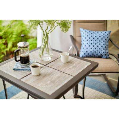 Crestridge Steel Square Outdoor Patio Bistro Table with Tile Top